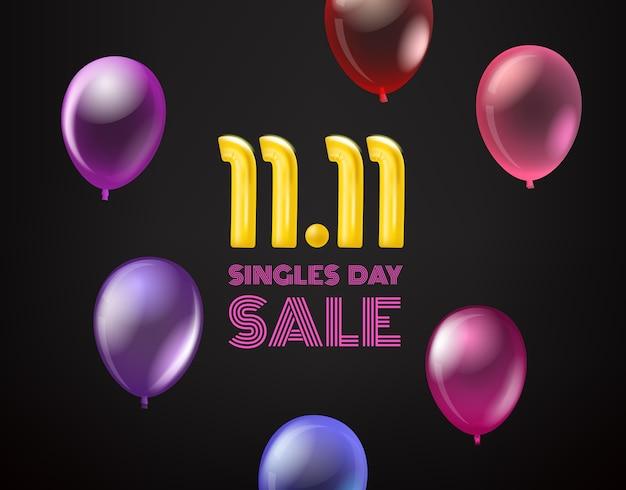 Banner de vetor de venda do dia de solteiros de novembro