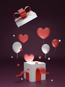 Banner do dia dos namorados com caixa de presente e fundo do coração.