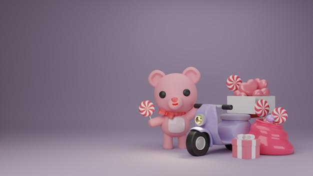 Banner do dia dos namorados com caixa de presente e urso bonito.