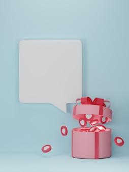 Banner do dia dos namorados com corações em caixa de presente.