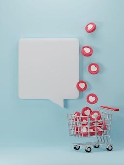 Banner do dia dos namorados com corações no carrinho de compras.