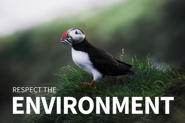 Banner do meio ambiente respeitando a citação ambiental