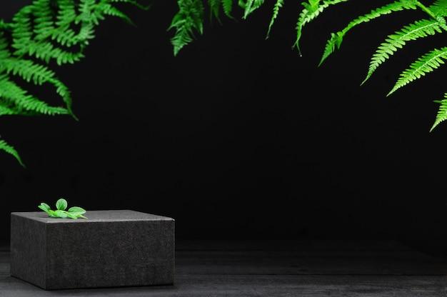 Banner do produto. folhas tropicais no fundo. vitrine para produtos cosméticos e mercadorias em pano de fundo natural. estilo de maquete, lugar para texto ou desenho. eco-amigável. conceito de publicidade e ecologia.