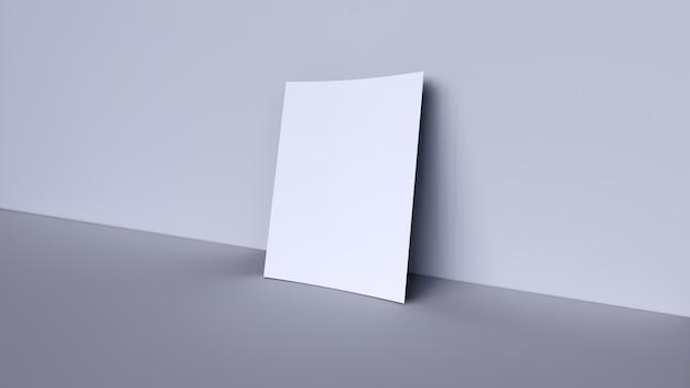 Banner em branco branco sobre fundo cinza