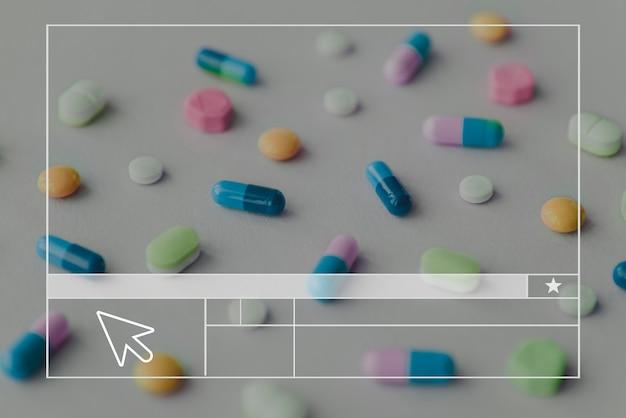 Banner em branco do layout do site de comprimidos
