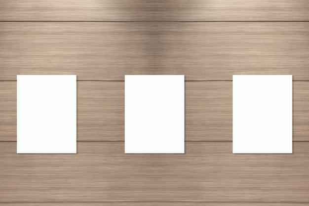 Banner em branco na parede de madeira
