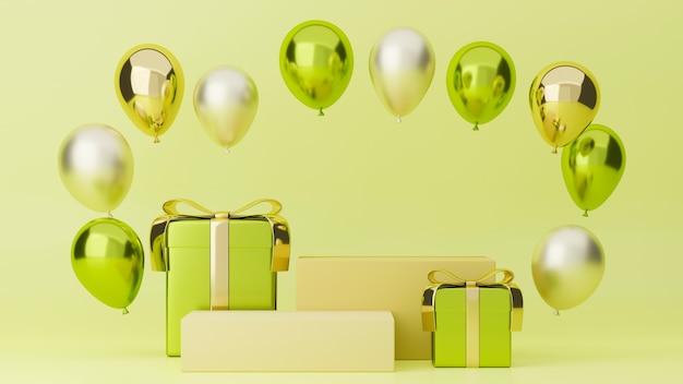 Banner festivo cartaz de feliz feriado tom verde com balões de caixas de presente e suporte para suas marcas