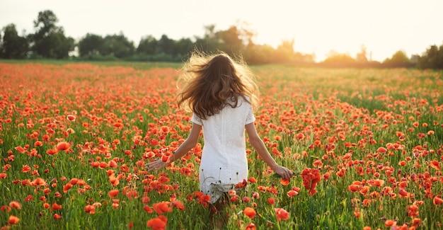 Banner jovem mulher bonita com os braços erguidos com chapéu de palha em campo de papoulas de primavera. liberdade de conceito.