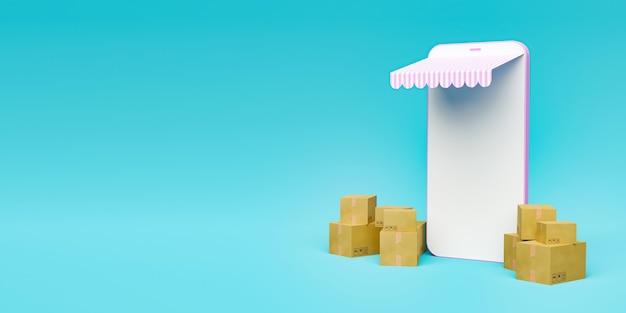 Banner minimalista de maquete de telefone celular com toldo e pacotes ao redor