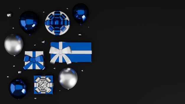 Banner online pôster cartão em fundo preto com caixas de presente em azul cinza metálico e espaço de cópia
