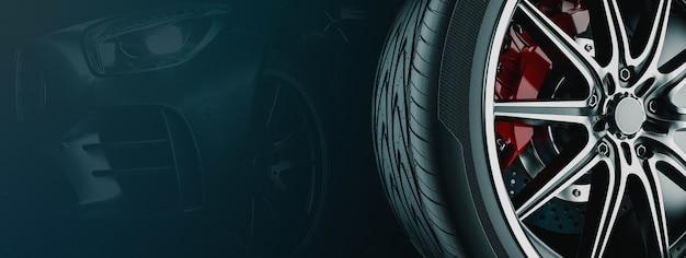 Banner para negócios de roda de carro. renderização 3d e ilustração. fundo preto da roda.