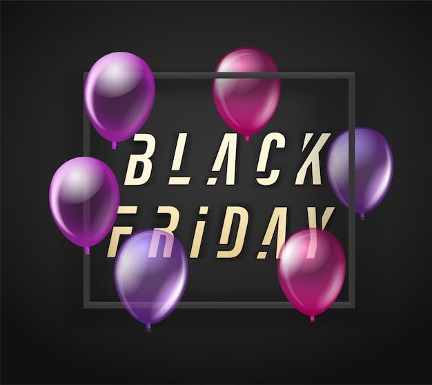 Banner preto de venda na sexta-feira com balões pretos