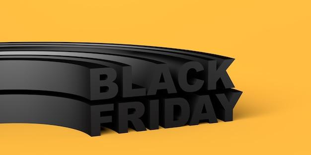 Banner preto sexta-feira sobre fundo amarelo. copie o espaço. ilustração 3d.