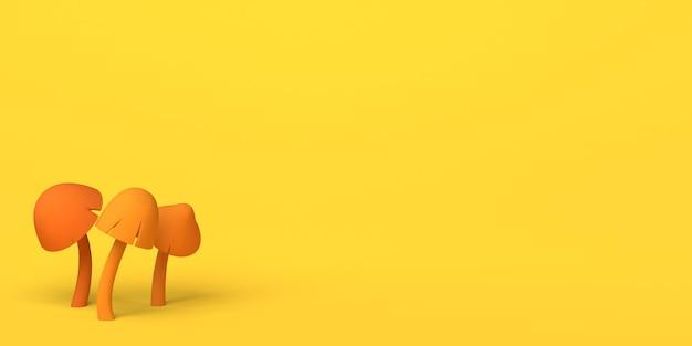 Banner sazonal de outono com cogumelos em fundo amarelo. copie o espaço. ilustração 3d.
