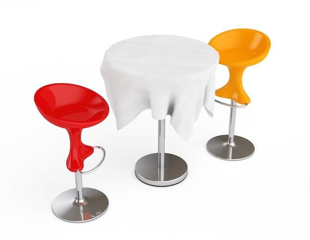 Banquinhos modernos de barra vermelha e laranja com toalha de mesa coberta em um fundo branco. renderização 3d
