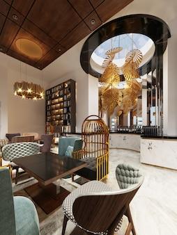 Bar restaurante moderno de design moderno com biblioteca e armário com livros. renderização 3d.