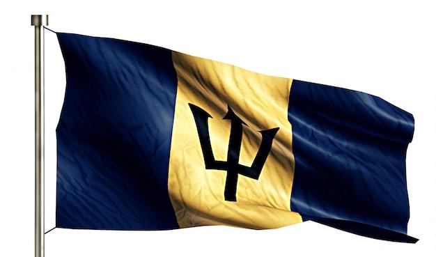 Barbados national flag isolated 3d fundo branco
