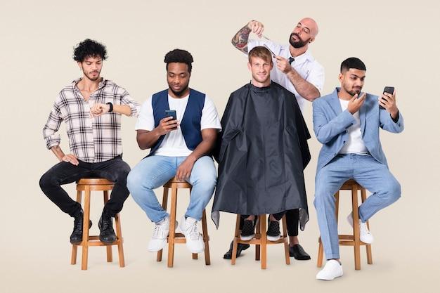 Barbearia masculina com empregos como cabeleireiro e campanha profissional