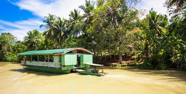 Barco de cruzeiro exótico com turistas em um rio de selva loboc, bohol