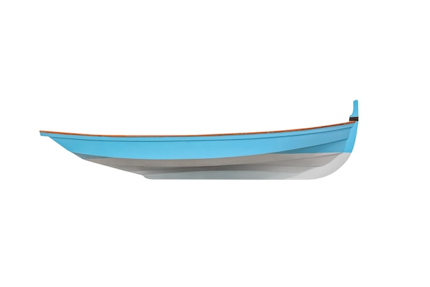 Barco de pesca de madeira azul isolado no branco