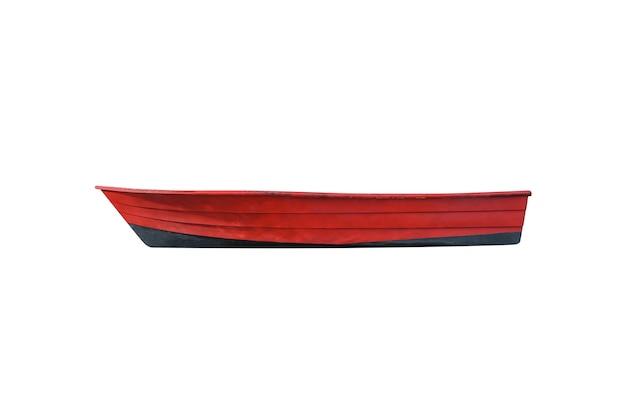 Barco de pesca de madeira vermelho isolado no branco