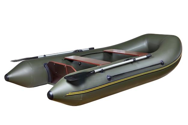 Barco inflável de borracha verde escuro para pesca e caça, com dois assentos, assento para duas pessoas em contraplacado de mogno par de remos.