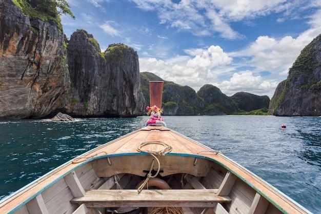 Barco longtail em águas turquesas com montanhas ao redor e nuvens no céu azul