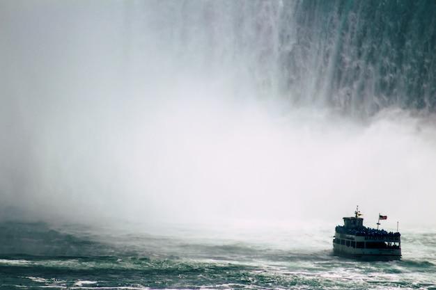 Barco navegando em caídas de ferradura