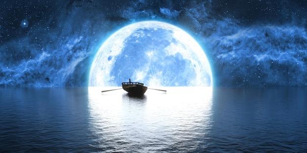 Barco no fundo de uma grande lua cheia, ilustração 3d