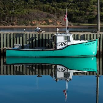 Barco pesca, amarrado, em, porto, mabou, capa breton, ilha, nova escócia, canadá
