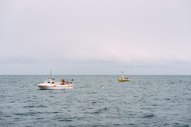 Barcos de pesca brancos flutuam nas águas costeiras da islândia