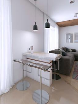 Barra de apoio em apartamento estúdio com duas cadeiras. renderização 3d
