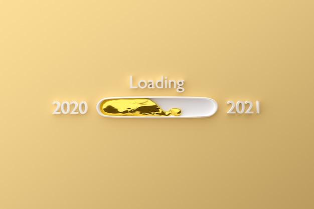Barra de carregamento de ano com líquido dourado