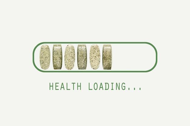 Barra de carregamento de saúde criativa com comprimidos de vitaminas e minerais