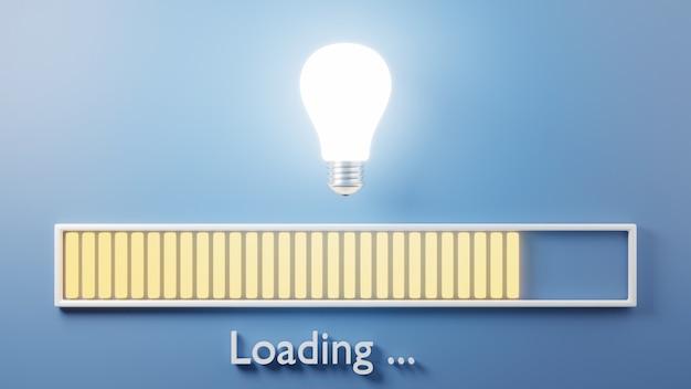 Barra de carregamento progredindo com lâmpada quase completa ilustração de renderização 3d