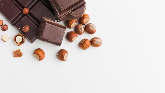 Barra de chocolate com espaço de cópia