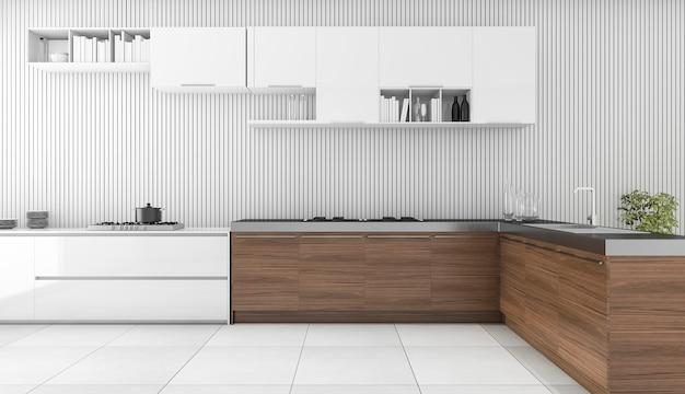 Barra de madeira moderna da rendição 3d na cozinha