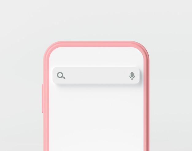 Barra de mecanismo de pesquisa em uma tela de smartphone