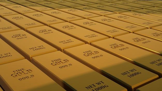 Barra de ouro 1000 gramas do mais alto padrão, ilustração 3d. barras de ouro empilhadas em fileiras, economia, luxo.
