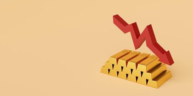 Barra de ouro com seta para baixo, renderização em 3d