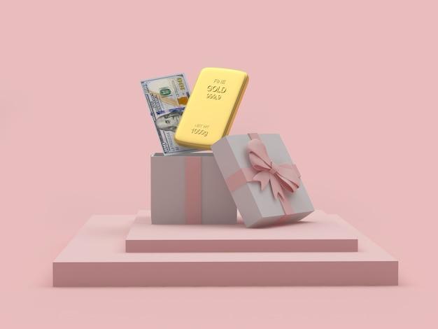 Barra de ouro com uma nota de dólar em uma caixa de presente aberta renderização 3d