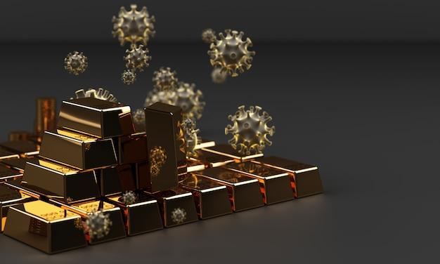 Barra de ouro e moeda com coronavírus, renderização em 3d