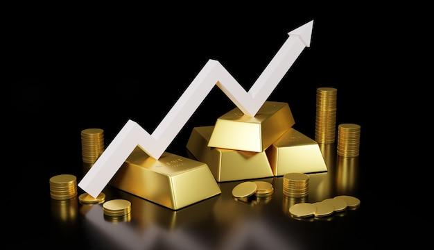 Barra de ouro e moeda de ouro para o negócio, rendição 3d.