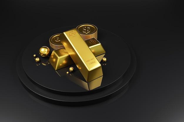 Barra de ouro e moedas de dinheiro empilhadas no pódio em preto