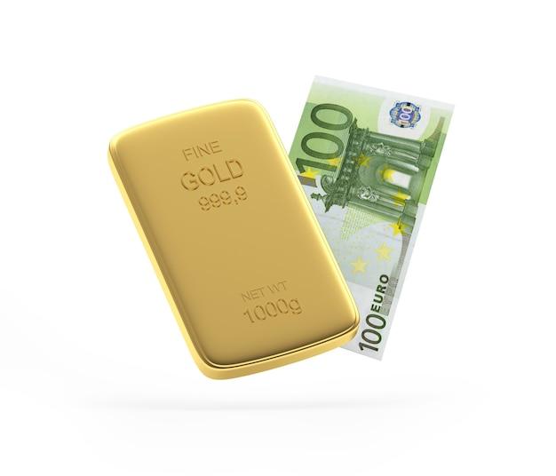 Barra de ouro e nota de euro