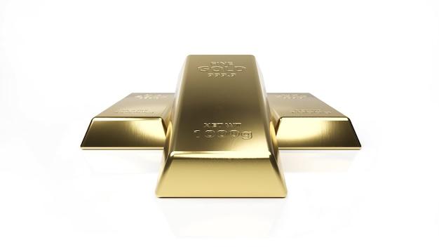 Barra de ouro isolada no branco.