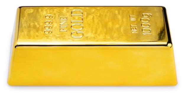 Barra de ouro isolada no fundo branco. lingote de ouro isolado no fundo branco com traçado de recorte.