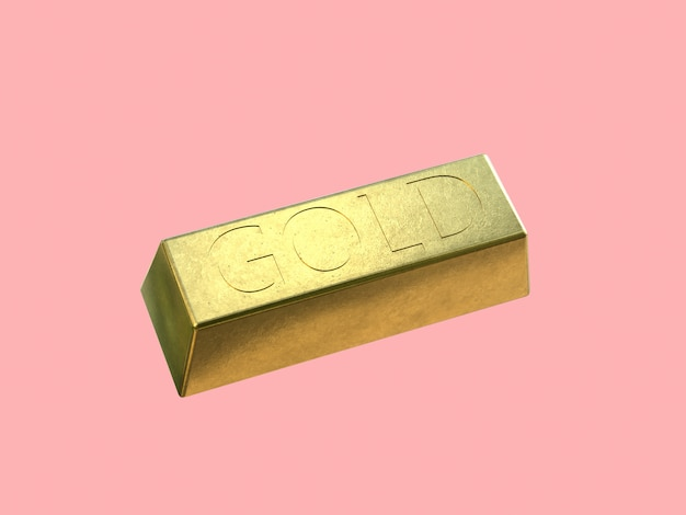 Barra de ouro quadrado ouro brilhante renderização 3d fundo rosa
