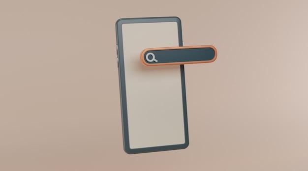 Barra de pesquisa com smartphone.
