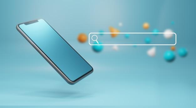Barra de pesquisa do navegador e smartphone. conceito de internet e tecnologia, renderização em 3d